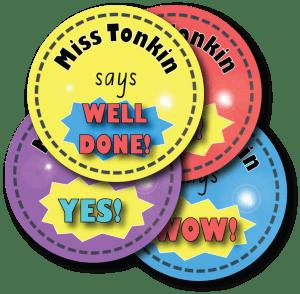 Personalised Teacher Reward Stickers – Bright Expressions