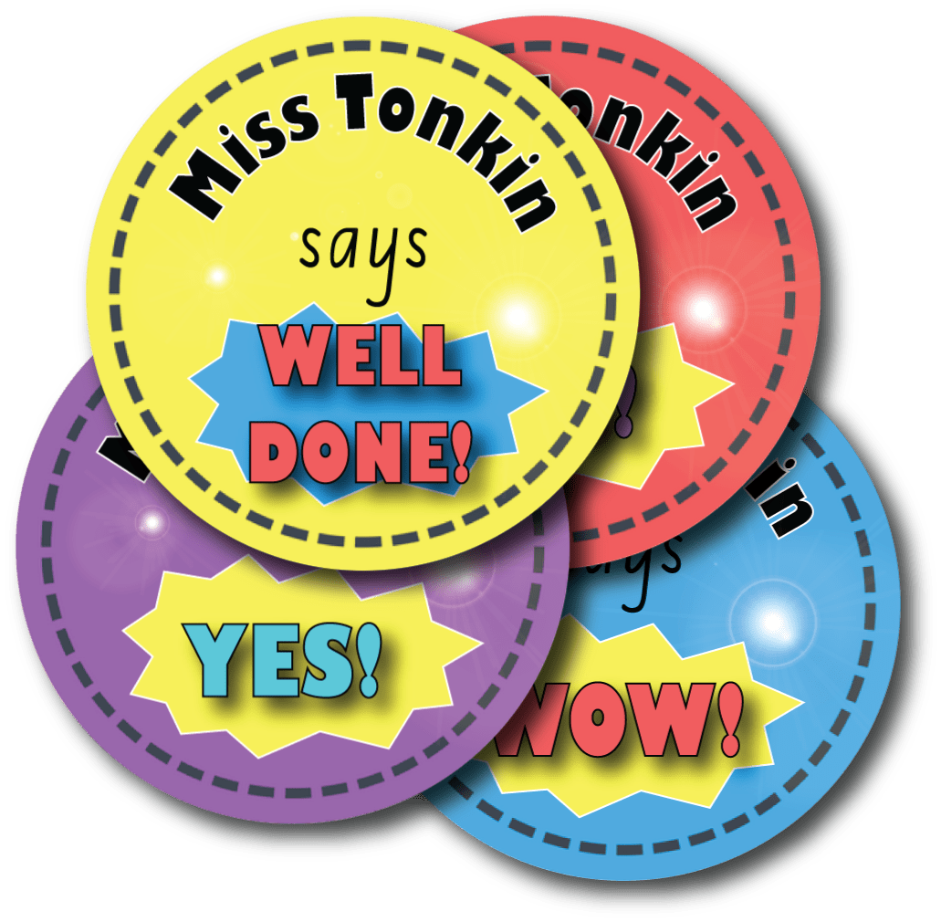 Personalised teacher reward stickers bright expressions