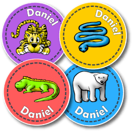 Wild Personalised Round Name Labels